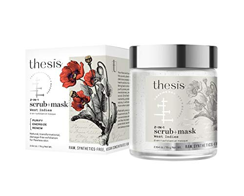 Thesis All Natural Organic Face Scrub and Mask - Mild and Chemical-Free Exfoliating Cleanser - West Indies with Poppy Seeds