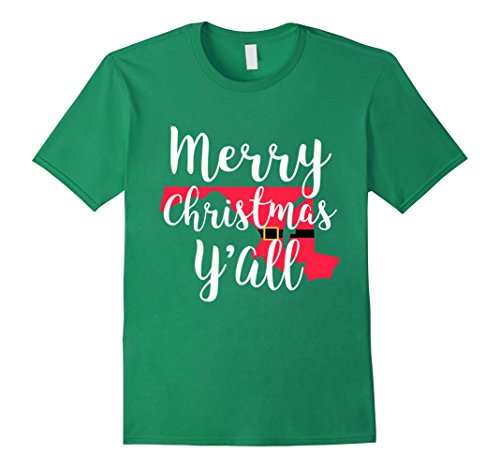 Mens Merry Christmas Yall Funny Santa Belt State Shirt Maryland Large Kelly Green (Teenage Girl Halloween Outfit Ideas)