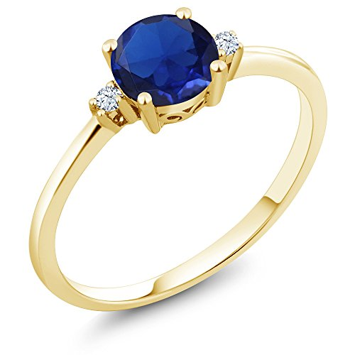 10K Yellow Gold Engagement Solitaire Ring set with 0.78 Ct Round Blue Simulated Sapphire and White Created Sapphires (Available in size 5, 6, 7, 8, (10k Gold Solitaire)