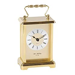 Wm Widdop Gold Coloured Carriage Clock with Roman Numeral White Dial