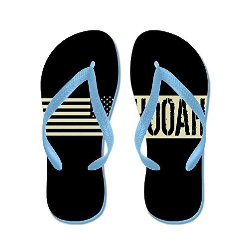 Cafepress Oss Armé: Hooah (svart Flagga) - Flip Flops, Roliga Rem Sandaler, Strand Sandaler Caribbean Blue