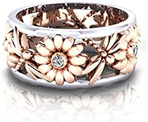 Aimys Silver Rings Women's Elegant Sunflower Dragonfly Hollow Finger Ring Band Jewelry Cubic Zirconia Ring with Side Stone Copper Leaf Eternity Band (9)
