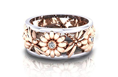 Aimys Silver Rings Women's Elegant Sunflower Dragonfly Hollow Finger Ring Band Jewelry Cubic Zirconia Ring with Side Stone Copper Leaf Eternity Band (7)