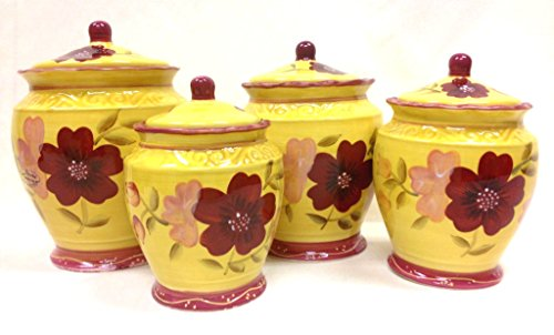 Tuscan Collection English Garden Deluxe Hand-Painted 4-Piece Kitchen Canister Set, 84601 By ACK (Garden Collection Tuscan)