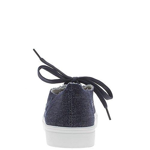Baskets ville femme bleues jean marine avec griffures en toile