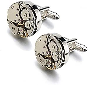 Cufflinks for men in the shape of a circle watch, silver 019