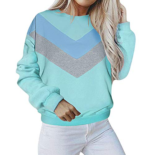 Crewneck Sweatshirt Tops Women's Sleeve Outwear Pullover Hoodie Jacket Blue Hooded Blouse Shirt Patchwork Coat Long Sweater dtdzqCw