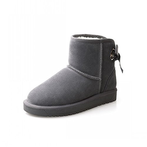BalaMasa Womens Bows Round-Toe Velvet Lining  Suede Boots Gray