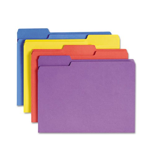 NEW - Antimicrobial Folders, 1/3 Cut Top Tab, Letter, Assorted Colors, 100/Box - 10349 (Antimicrobial Top Tab Folders)