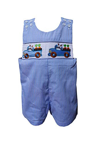 Dana Kids Boys Easter Bunny Truck Smocked Shortall (3T)