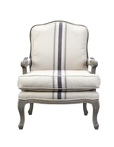 Burnham Home 11714 Alma Arm Chair, Gray Wash/White/Blue