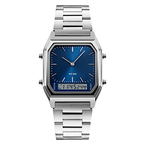 Fngeen Men's Unique Square Digital Analog Display Watch with Stainless Steel Band,Blue (Chrono Sport Toy Watch Watch)