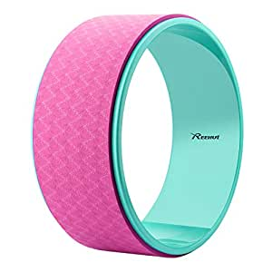 """Reehut Strong Premium 12.6"""" x 5"""" Yoga Wheel Roller Designed for Dharma Yoga Wheel Pose, for Stretching and Improving Backbends - Pink"""
