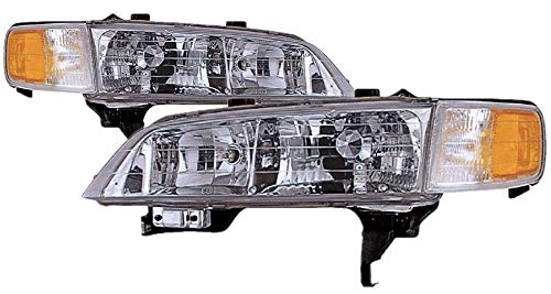 For 1994 1995 1996 1997 Honda Accord Headlight Headlamp Assembly Driver Left and Passenger Right Side Pair Set Replacement HO2502106 ()
