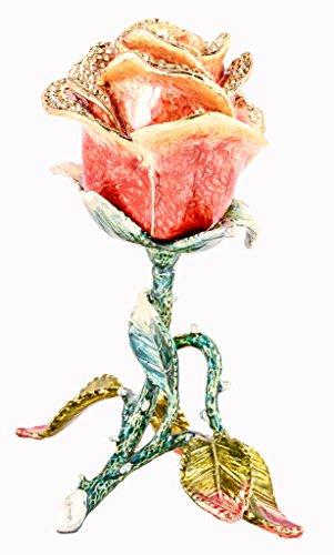 Stand Up Rose Flower Trinket Box, Topaz Swarovski Crystal...