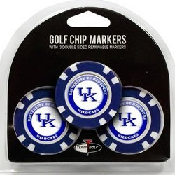 Set of 3 University of Kentucky Wildcats Poker Chips with removable Golf Ball Markers - Cat Poker