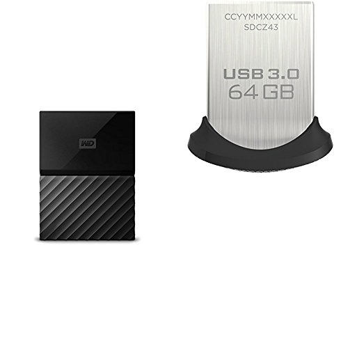 WD 1TB Black USB 3.0 My Passport Portable External Hard Drive and SanDisk Ultra Fit 64GB USB 3.0 Fla