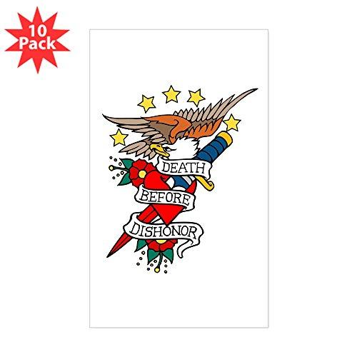 CafePress - Death Before Dishonor Military Tattoo Sticker (Rec - Rectangle Bumper Sticker (10-Pack), Car Decal