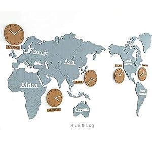 Wall clock Relojes, Sala de Estar, Reloj de Pared, Reloj de Pared del Mapa, Estilo nórdico, Movimiento de exploración silencioso Material de Madera 220 * 115 * 0.3cm 3