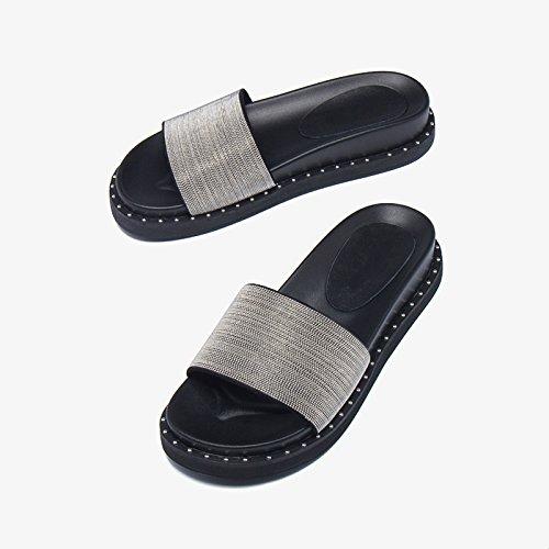 Jianxin color Moda 2 uk Joker 5 Zapatillas flat La Heel Sandalias Plano Fondo Flat Y Femenina Verano Out Slipper Eu 35 Plata Marea Mujer Tamaño One 4 us De rYrfUq