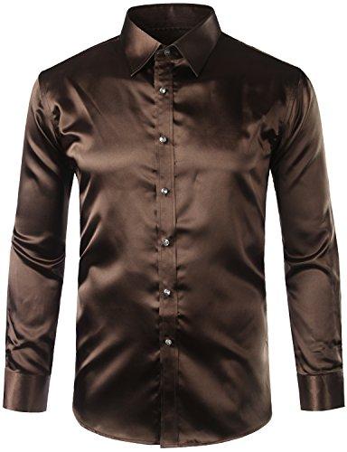 ZEROYAA Mens Regular Fit Long Sleeve Shiny Satin Silk Like Dance Prom Dress Shirt Tops Z6 Coffee Large - Light Coffee Satin