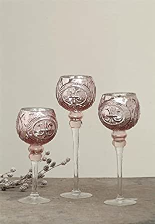 Amazon.com: Embossed Mercury Glass Footed Votive Candle ...