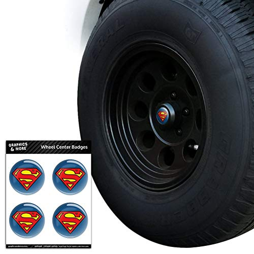Graphics and More Superman Classic S Shield Logo Tire Wheel Center Cap Resin-Topped Badges Stickers - 2.6
