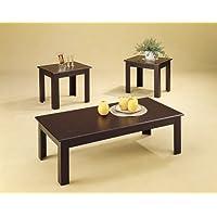 3pc Black Oak Veneer Parquet Coffee Table & 2 Side Tables Set