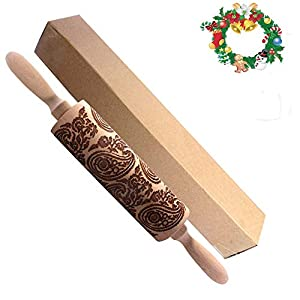 Engraved Carved Wood Embossed rolling pins embossed Rolling Pin engraved rolling pins for baking for pastry Dough Pastry Clay Crafts total length 14.2in