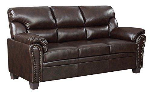Furniture World 1152-S Jefferson Sofa, Chocolate Leather (Leather Sleeper Recliner)