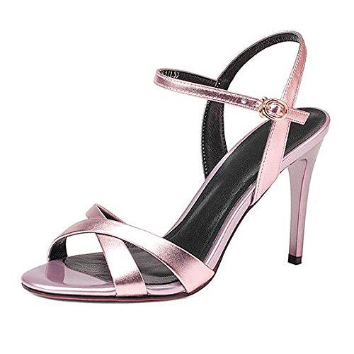 Scarpe Festa Alti Croce 38 con Commercio Cinturino Pink A Estate Toe Semplice da A Caviglia Spillo Fibbia Peep 5CM 9 Alla Spettacolo Cinturino Tacchi Donna Moda Sandali qRwUZF