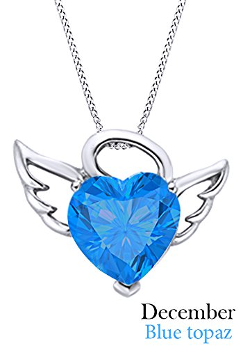 - Simulated Blue Topaz Angel Heart Pendant in 14K White Gold Over Sterling Silver