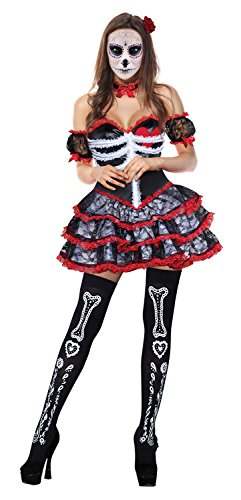 Red Corset Tutu Adult Costumes Dress (Kimring Women's Skeleton Corpse Halloween Outfit Gothic Lolita Lace Trim Corset Dress Black/Red One-size)