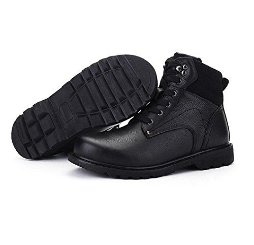 Martin botas botas de invierno varones británicos estilo yardas grandes botas primera capa de zapatos de cuero de los hombres cargadores de los útiles, además de algodón hecho a mano 10 cotton black