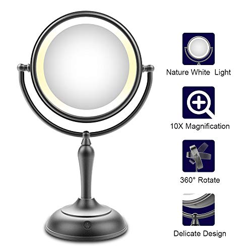 Lighted Makeup Mirror, 7.5 Inch Makeup Mirror with Magnification, 1x/10x Magnifying Double Sided Mirror with Lights, AC Adapter Or Battery Operated, Natural White Light, Cord Or Cordless, -