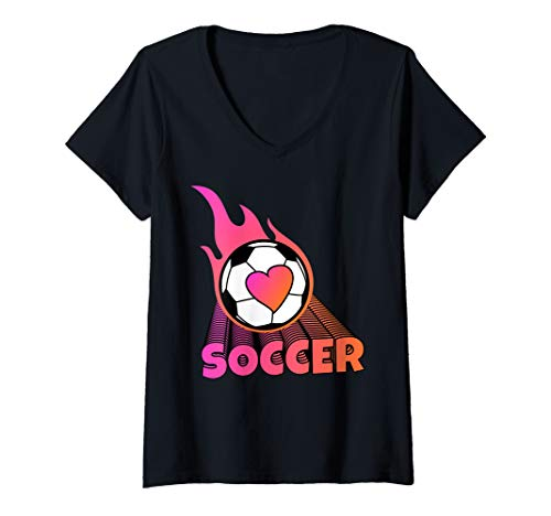 Womens Cute Flaming Pink Soccer Ball V-Neck - Flaming T-shirt Soccer Ball