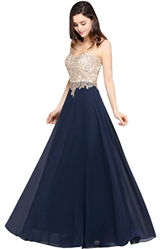 (MisShow A line 2017 Long Gold Lace Womens Evening Dresses Plus Size 10 US Navy)