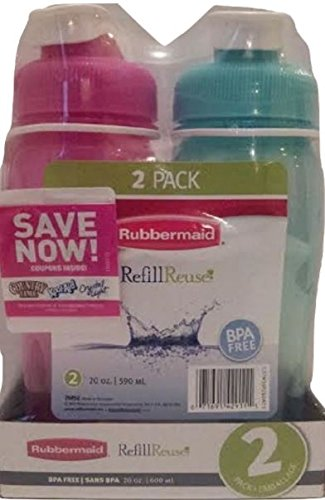 Rubbermaid 20 Ounce Reusable Refillable Water Bottle, (1 Pack of 2 - Pink and Blue)