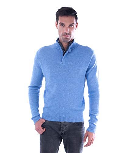 cashmere 4 U Men's 100% Pure Cashmere Pullover Half Zip Mock Neck Sweater