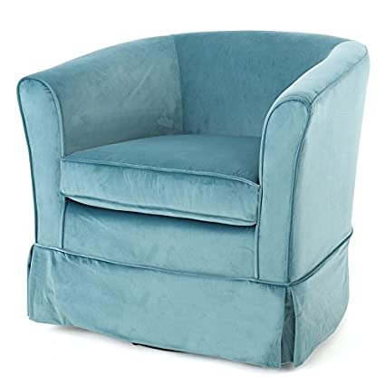 Living Room Swivel Barrel Chair, Features Side Covers For The Metal Swivel  Base, Medium