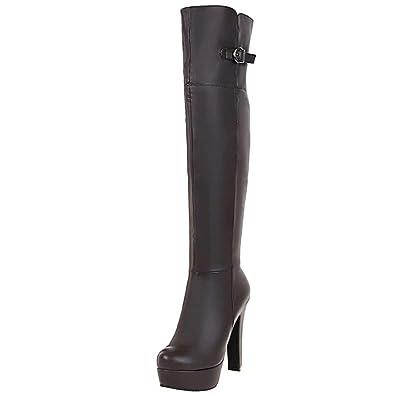 2e6823032ef344 AIYOUMEI Damen Hohe Overknee Stiefel mit Schnalle und Plateau Winter  Langschaft Stiefel