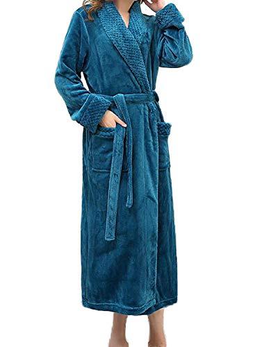Bata De Casuales Franela Servicio Medidor Azul Cálido Camisón Espesar Albornoz Invierno La Largo Baño Mujeres Hombres Casa YqPZAWw