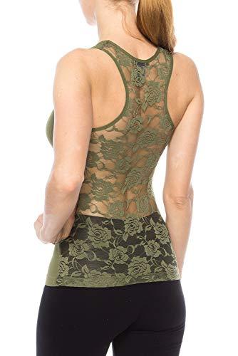 KLKD Women's Sleeveless Floral Lace Racerback Tank Top (OneSize, Olive_OneSize)