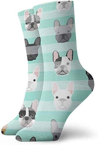 フレンチブルドッグ子犬通気性足首ソックス30 cm綿運動クルーソックス男性、女性、子供のため
