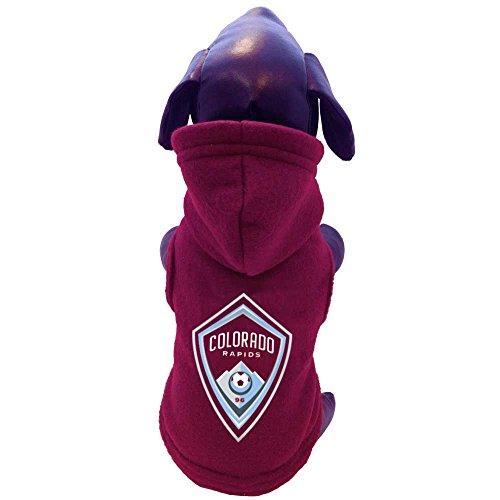 MLS Colorado Rapids Polar Fleece Hooded Dog Sweatshirt, Small, Maroon