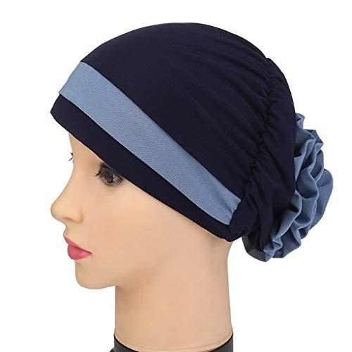 1Pc Big Flower Turban for Women Hair Elastic Cloth Hair Bands Hat Chemo Beanie Muslim Scarf Cap (2,One Size)