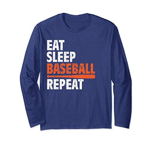 Unisex Funny Eat Sleep Baseball Repeat Longsleeve Practice Tshirt 2XL Navy (Repeat Sleeve Long Funny)