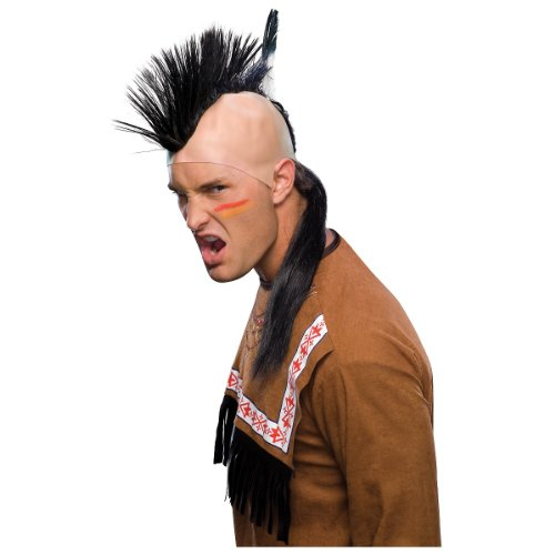 Mohawk Wigs (Rubie's Costume Indian Mohawk Wig with Skullcap, Black, One Size)