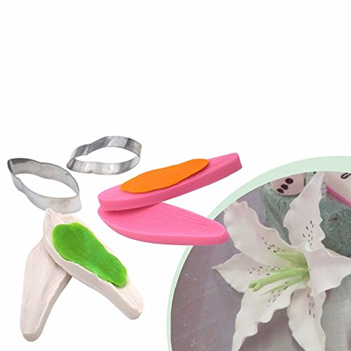 AK ART KITCHENWARE Lily Petal Decoration Tool Leaf and Flower Tool Kit Stainless Steel Cookie Cutter Set Silicone Veining Mold Petal Sugar Flower Making Tool A351&VM067