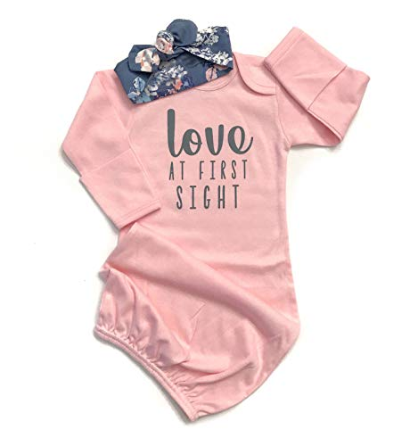 (Newborn Baby Girl Love at First Sigth Floral Nightgowns Headband Sleepwear Sleeping Bag (Pink, 0-6 Months) )